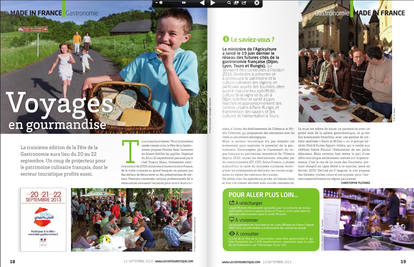 """Extrait du magazine l'echo touristique"""" article Voyages en gourmandises"""