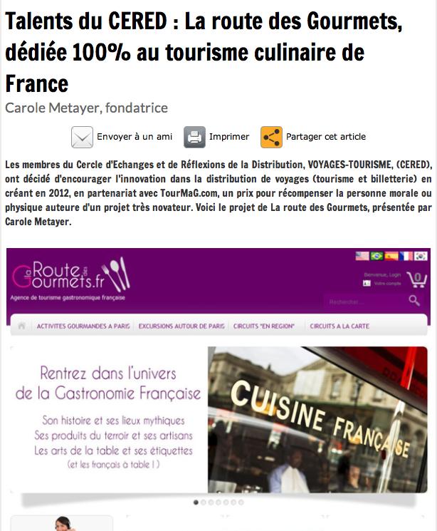 """Tourmag: Article """"talents du CERED: la route des gourmets dédiée 100% au tourisme culinaire de France"""