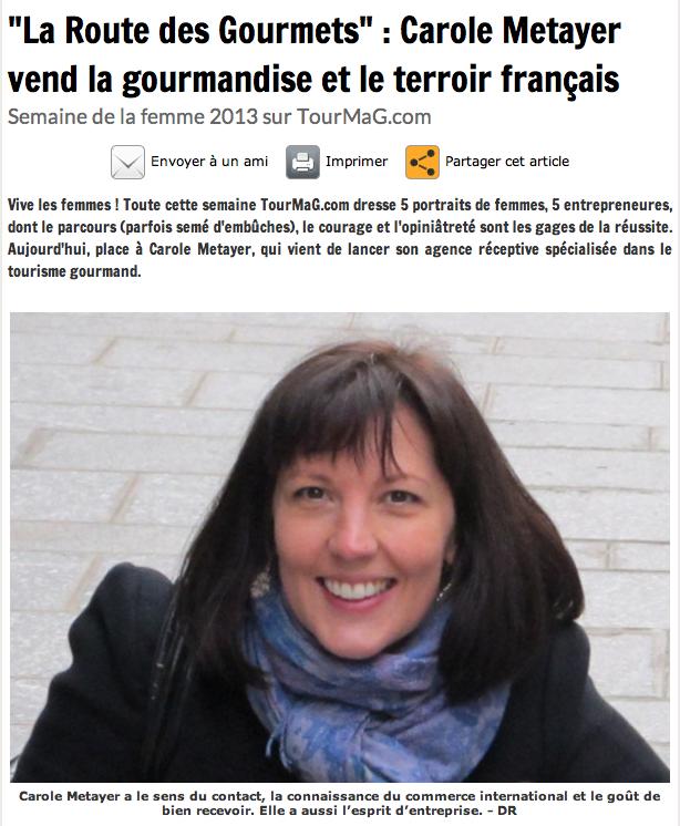 """Article""""La route des gourmets"""": Carole Metayer vend la gourmandise et le terroir français"""""""